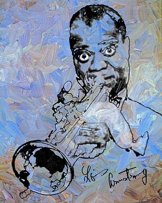 Music Painting - Louis Armstrong by Linda Mears