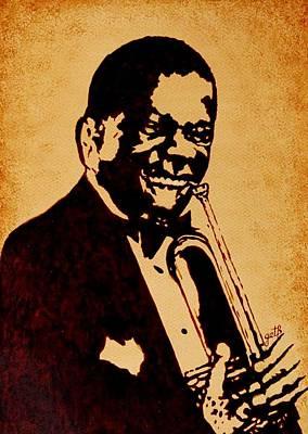 Trumpet Painting - Louis Armstrong Original Coffee Painting Art by Georgeta  Blanaru