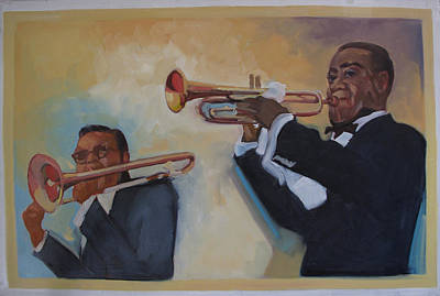 Painting - Louis Armstrong With Russell Big Chief Moore                       by Suzanne Giuriati-Cerny