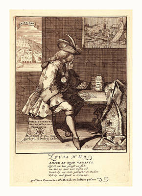 Loose Style Drawing - Louis Dor, 1705, 1 Print  Etching., Print Shows Louis Xiv by Litz Collection