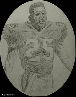Miami Dolphins Drawing - Louis Oliver by James Markey