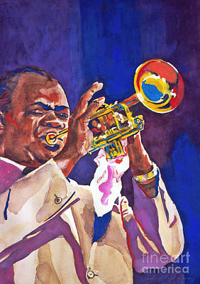 Jazz Painting Royalty Free Images - Louis Satchmo Armstrong Royalty-Free Image by David Lloyd Glover