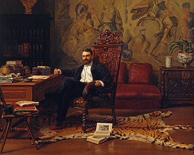 Sit-ins Painting - Louis Signorino Seated In His Study  by Gustave Bourgain
