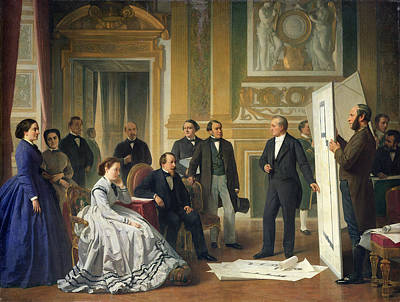 Louis Visconti 1791-1853 Presenting The New Plans For The Louvre To Napoleon IIi 1808-73 1853 Oil Art Print