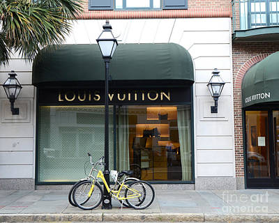 Storefront Photograph - Louis Vuitton Store Shop Boutique - Charleston South Carolina Louis Vuitton Bicycle Street Scene by Kathy Fornal