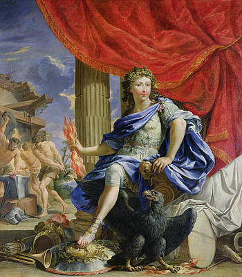 Lightning Bolt Photograph - Louis Xiv 1638-1715 As Jupiter Conquering The Fronde, 1648-67 Oil On Canvas by Charles Poerson