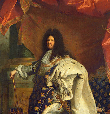 Louis Xiv In Royal Costume, 1701 Oil On Canvas Detail Of 59867 Art Print by Hyacinthe Francois Rigaud