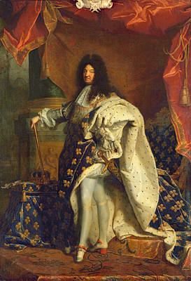 Louis Xiv In Royal Costume, 1701 Oil On Canvas Art Print by Hyacinthe Francois Rigaud