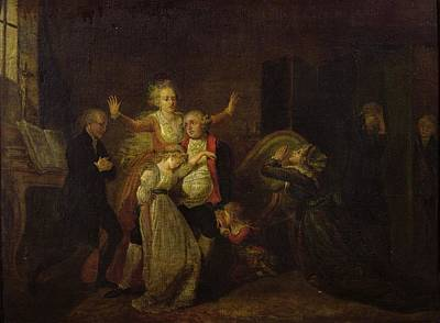 Crying Photograph - Louis Xvi 1754-93 Bidding Farewell To His Family At The Temple, 20th January 1793 Oil On Canvas by Charles Benazech