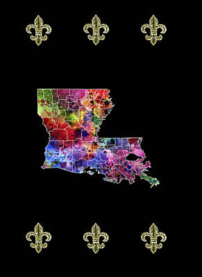 French Map Digital Art - Louisana Fleur De Lis by Daniel Hagerman