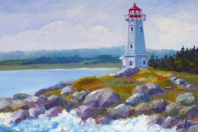 Painting - Louisbourg Lighthouse by Janet  Zeh