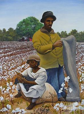 The Cotton Field Painting - Louisiana Cotton Pickers by Theon Guillory