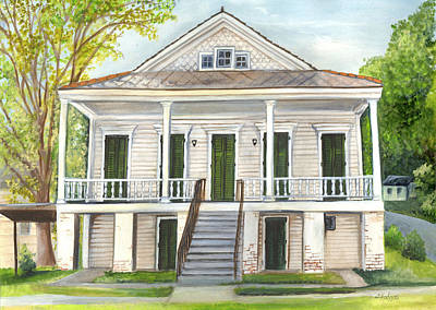 St Bernard Painting - Louisiana Historic District Home by Elaine Hodges