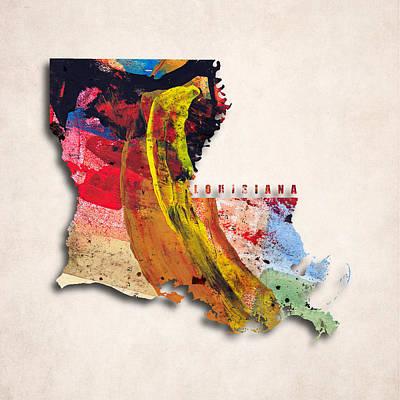Louisiana Map Art - Painted Map Of Louisiana Art Print