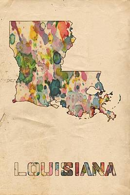 United States Map Painting - Louisiana Map Vintage Watercolor by Florian Rodarte