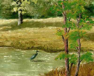 Painting - Louisiana Pond With Heron by Lenora  De Lude