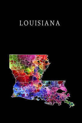 French Map Digital Art - Louisiana State by Daniel Hagerman