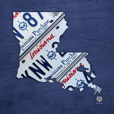 Louisiana Mixed Media - Louisiana State License Plate Map by Design Turnpike