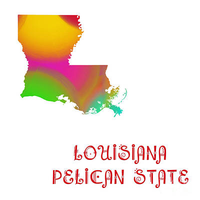 Louisiana State Map Collection 2 Art Print by Andee Design