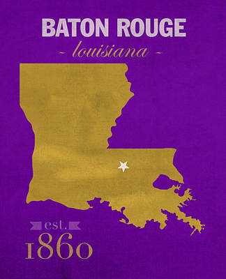 Louisiana State University Mixed Media - Louisiana State University Tigers Baton Rouge La College Town State Map Poster Series No 055 by Design Turnpike