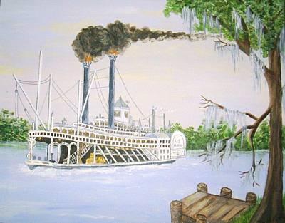 Louisiana Steamboat Art Print by Julie Kraft