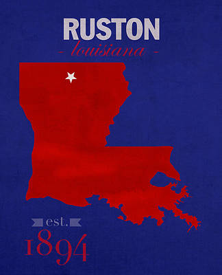 Louisiana State University Mixed Media - Louisiana Tech University Bulldogs Ruston Louisiana College Town State Map Poster Series No 056 by Design Turnpike