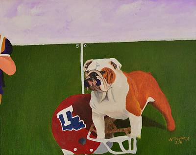 Bulldog Oil Painting - Louisiana Tech Vs Lsu by Nina Stephens