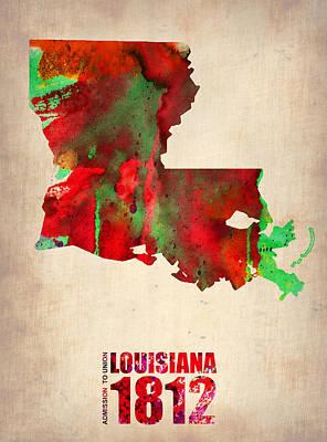 World Map Poster Digital Art - Louisiana Watercolor Map by Naxart Studio