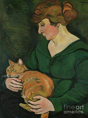 Cat Woman Painting - Louison E Raminou by Marie Clementine Valadon