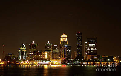 Photograph - Louisville After Dark 2006 by Jack R Perry