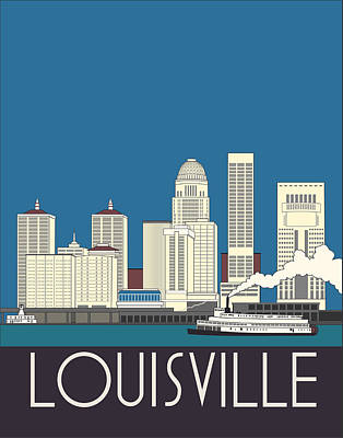 Indiana Rivers Digital Art - Louisville Art Deco Skyline by Josef Spalenka