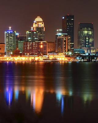Louisville At Night  Art Print by Frozen in Time Fine Art Photography