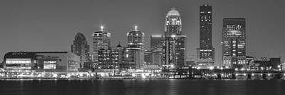 Louisville Black And White Panorama Art Print