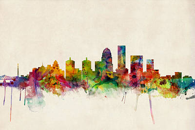 Watercolour Wall Art - Digital Art - Louisville Kentucky City Skyline by Michael Tompsett