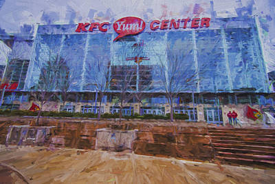Clarksville Photograph - Louisville Kentucky Kfc Yum Center Digital Painting by David Haskett