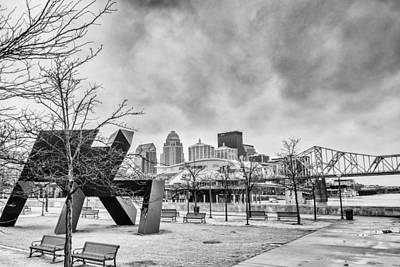 Clarksville Photograph - Louisville Kentucky Skyline Bnw by David Haskett