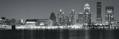 Black Commerce Photograph - Louisville Night In Black And White by Frozen in Time Fine Art Photography