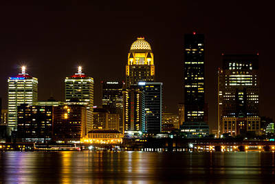 Louisville Skyline And River At Night  Art Print