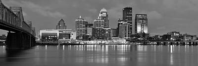 Photograph - Louisville Skyline At Dusk Sunset Bw Black And White Panorama Kentucky by Jon Holiday
