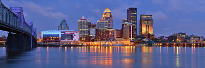 Urban Scenes Photograph - Louisville Skyline At Dusk Sunset Panorama Kentucky by Jon Holiday