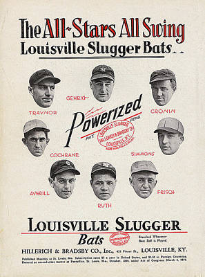 Babe Ruth Digital Art - Louisville Slugger Bats by Unknown