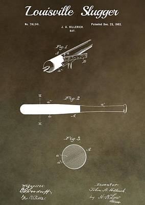 Bat Mixed Media - Louisville Slugger Patent by Dan Sproul