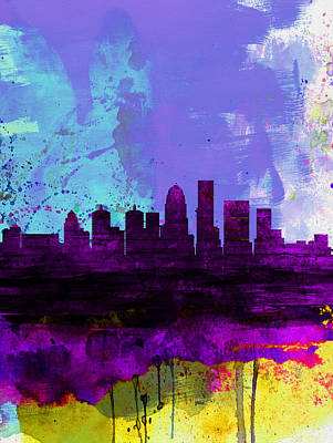 Architectural Painting - Louisville Watercolor Skyline by Naxart Studio