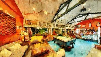 Comfort Painting - Lounge Cafe With Billiard Table by Magomed Magomedagaev