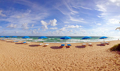 Lounge Chairs And Beach Umbrellas Art Print by Panoramic Images