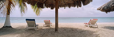 Lounge Chairs On 7-mile Beach, Negril Art Print by Panoramic Images