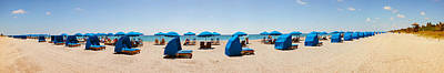 Lounge Chairs On The Beach, Delray Art Print by Panoramic Images