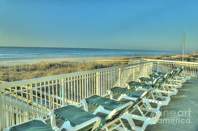 Lounge Chairs Overlooking Beach Art Print