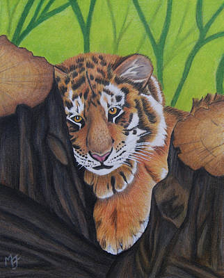 Painting - Lounging Tiger Cub by Melanie Feltham