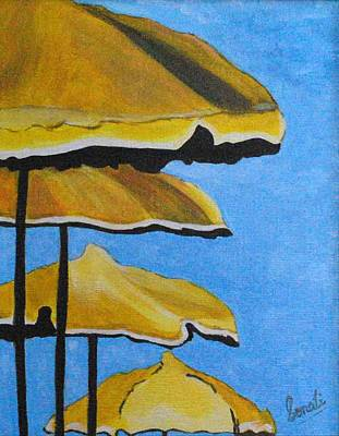 Lounging Under The Umbrellas On A Bright Sunny Day Art Print